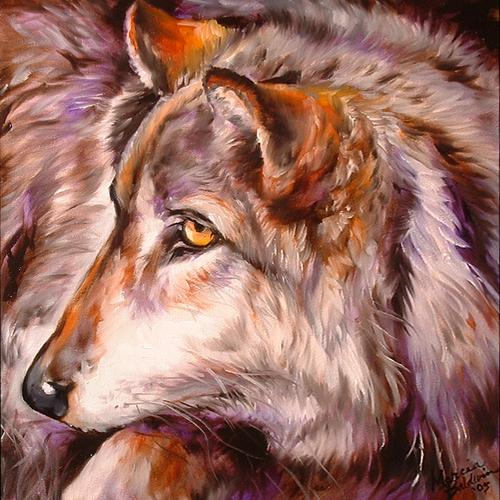 Painting--Oil-AnimalsWOLF