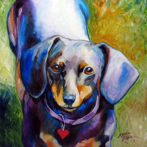 Painting--Oil-AnimalsDOXIE HEART by M BALDWIN