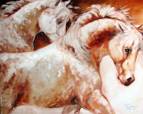 POWER by TWO ~ EQUINE ART ORIGINAL by M BALDWIN (large view)