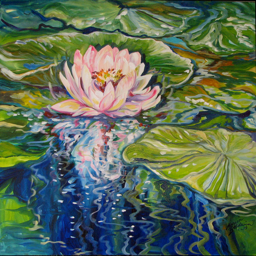 Painting--Oil-FloralSWEET LOTUS by M BALDWIN