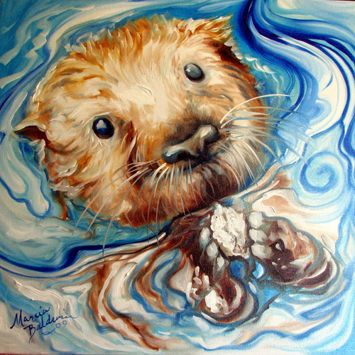 Painting--Oil-AnimalsSEA OTTER by M BALDWIN