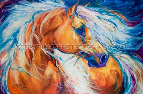 "An original oil painting by Marcia Baldwin, titled ""FREE BREEZE PALOMINO WILD"" (large view)"