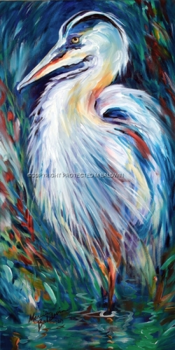 "An original oil painting by Marcia Baldwin, titled ""BLUE HERON ABSTRACT"" (large view)"