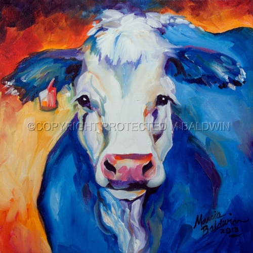 Painting--Oil-AnimalsBLUE MOO 1212