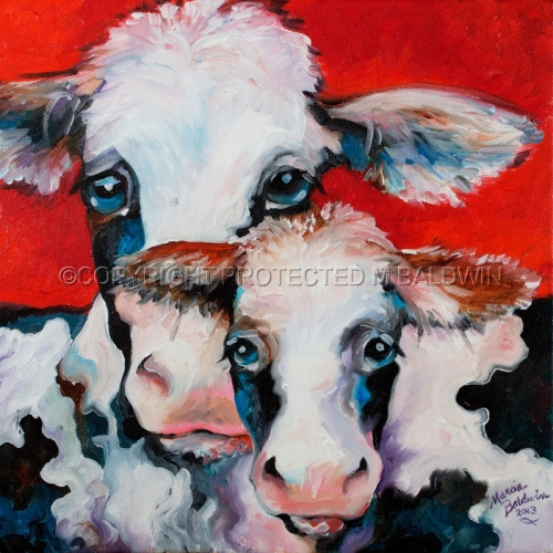 Painting--Oil-AnimalsFUN COWS TWO