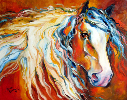 UNTAMED SPIRIT by M BALDWIN ~ EQUINE ART ORIGINAL (large view)