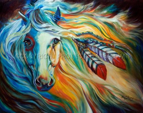 BREAKING DAWN ~ Indian War Horse (large view)