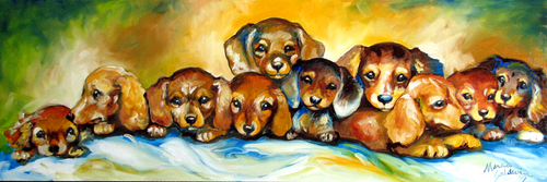 DOXIES in a ROW by M BALDWIN ~ 30 X 10 (thumbnail)