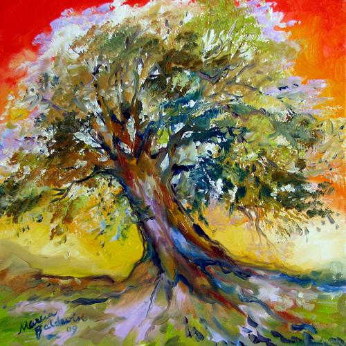 Tree of Life SUNSET ~ MINI 12 X 12 by M BALDWIN (large view)