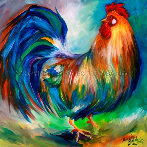 Painting--Oil-AnimalsTHE CHARMER ROOSTER