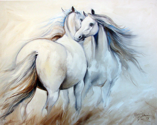 FRIEND to FRIEND EQUINE ART by M BALDWIN (large view)