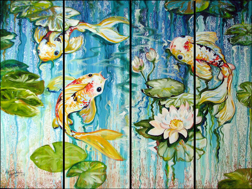 KOI on FOUR ABSTRACT by M BALDWIN (large view)