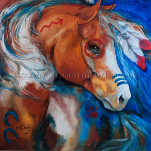Painting--Oil-AnimalsBRAVEHEART WARRIOR Indian War Horse