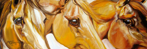 THREE LOVES EQUINE ORIGINAL OIL PAINTING by M BALDWIN (thumbnail)