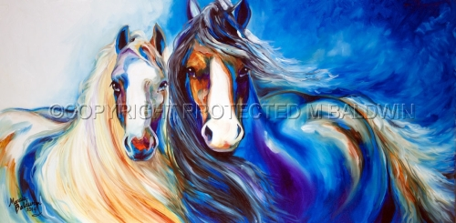 GYPSY VANNER HORSES EBONY & IVORY (large view)