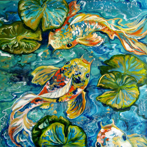 BLUE LAGOON KOI 3 ~ an Abstract by M Baldwin (large view)