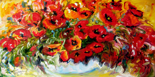 ORIGINAL POPPY ART by M BALDWIN 20X10 OIL (thumbnail)