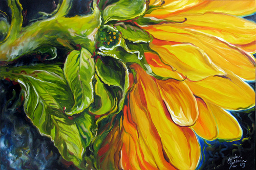 SUNFLOWER SUN PETALS by M BALDWIN ORIGINAL OIL 36x24 (large view)