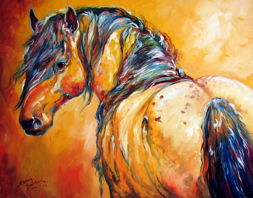 MUSTANG APPALOOSA by M BALDWIN ~ EQUINE ARTIST (large view)