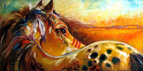 INDIAN WAR PONY settingSun Equine Art Original oil by M Baldwin (thumbnail)
