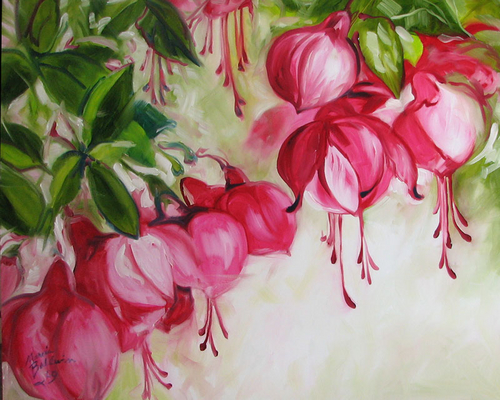 FUCHSIA FLORAL ABSTRACT by M BALDWIN (large view)