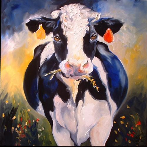 Painting--Oil-AnimalsHAPPY COW