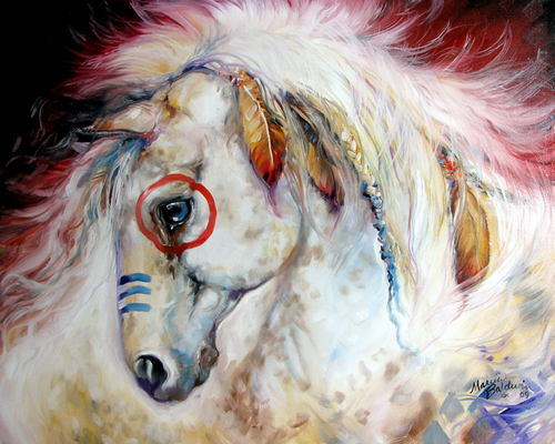 APACHE the WAR PONY an ORIGINAL EQUINE OIL PAINTING 30x24 by M BALDWIN ~ HORSE ART (large view)