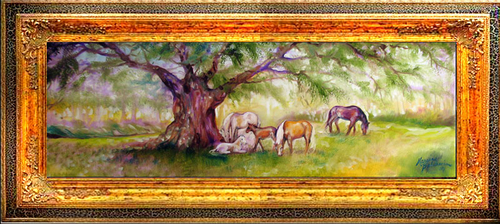 MARES & FOALS 36 X 12 ORIGINAL OIL PAINTING EQUINE LANDSCAPE by M BALDWIN (large view)