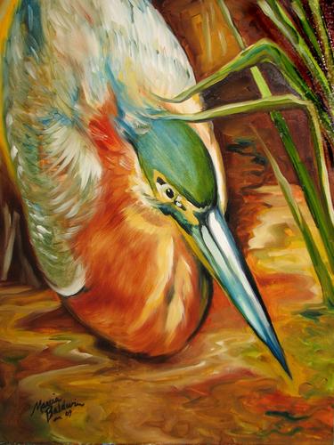 Painting--Oil-WildlifeGREEN HERON