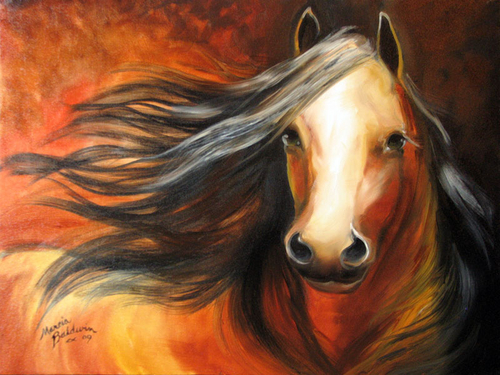BAY MUSTANG STALLION EQUINE ART ORIGINAL OIL PAINTING by M BALDWIN 18X24