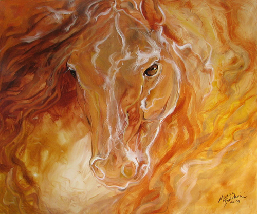GOLDEN ESSENCE EQUINE original oil painting 24x20 by M BALDWIN (large view)