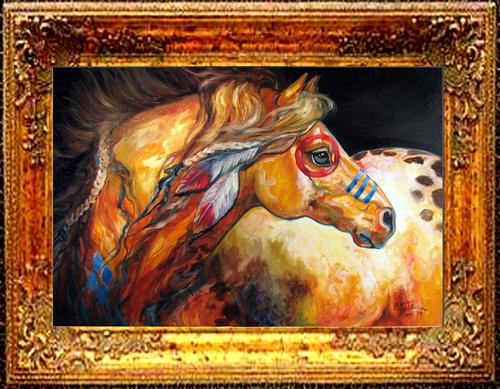 INDIAN WAR HORSE GOLDEN SUN  (large view)