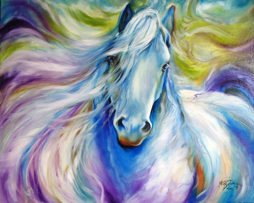 DREAMSCAPE FREISIAN EQUINE ORIGINAL by M BALDWIN (large view)