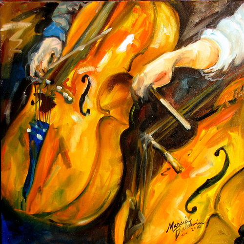 ABSTRACT CELLOS 16x16 OIL PAINTING MUSIC SERIES by M BALDWIN (large view)