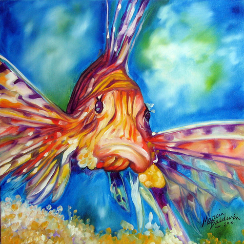 LION FISH II ~ ORIGINAL OIL PAINTING 16x16 by M BALDWIN (large view)
