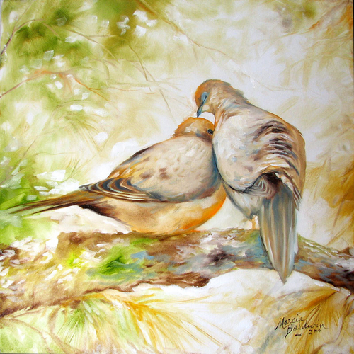 MORNING DOVES ~ Wildlife Art Original Oil Painting 18x18 by M BALDWIN (large view)