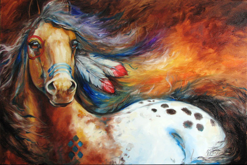 SPIRIT INDIAN WARRIOR PONY ~ ORIGINAL EQUINE OIL PAINTING by MARCIA BALDWIN 36x24 (large view)
