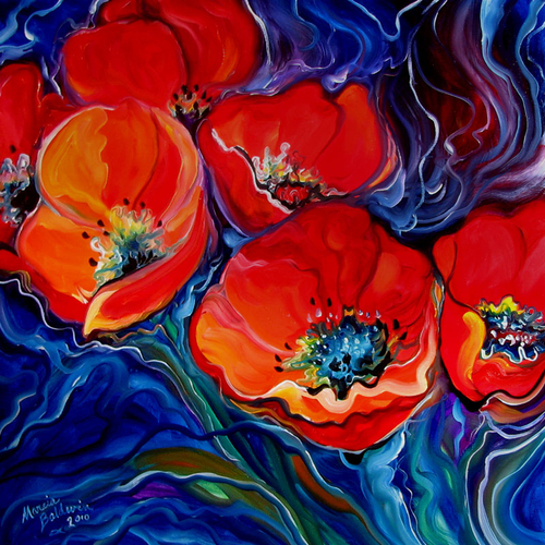 RED FLORAL ABSTRACT 24x24 ORIGINAL OIL PAINTING by MARCIA BALDWIN (large view)
