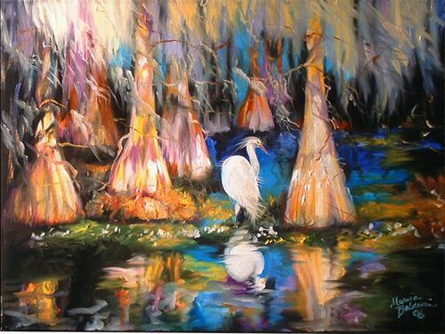 EGRET AMONG THE CYPRESS
