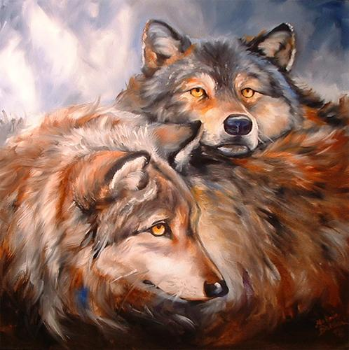 Painting--Oil-AnimalsWOLF RETREAT