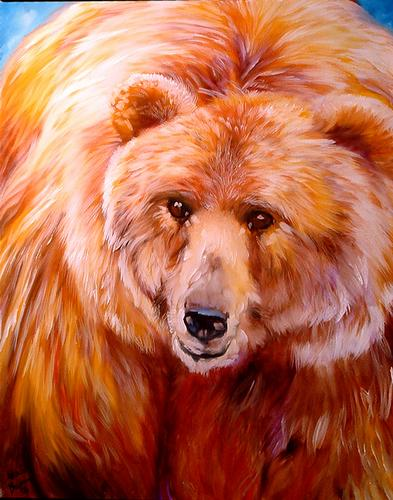 Painting--Oil-AnimalsGolden Brown Bear
