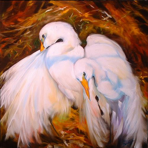 Painting--Oil-AnimalsGreat White Egrets