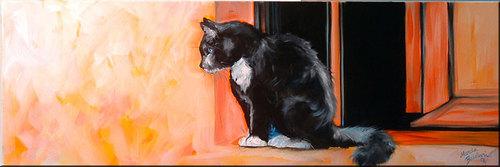 KITTY ON A TUSCAN WINDOW SILL