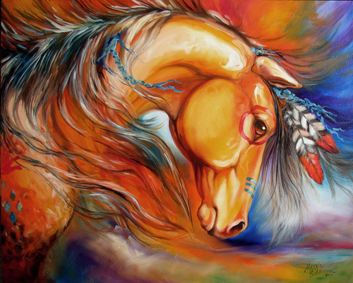 INDIAN WAR HORSE SETTING SUN ~ ORIGINAL OIL PAINTING 30 X 24 by MARCIA BALDWIN (large view)