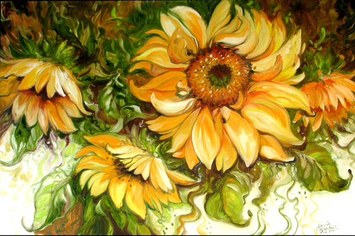 SUNFLOWERS & VINES ORIGINAL OIL PAINTING by MARCIA BALDWIN 36 X 24 GALLERY CANVAS