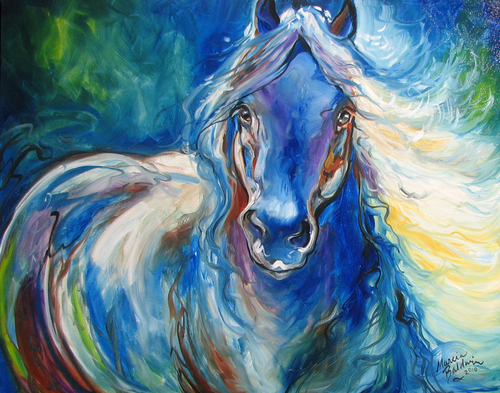 ABSTRACT BLUE EQUINE ORIGINAL OIL PAINTING 28 x 22 by MARCIA BALDWIN (large view)