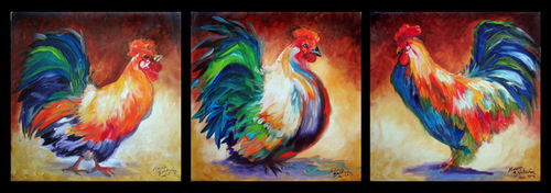ROOSTERS & HEN SMALL ORIGINALS OIL PAINTINGS 10 X 10 by MARCIA BALDWIN (thumbnail)