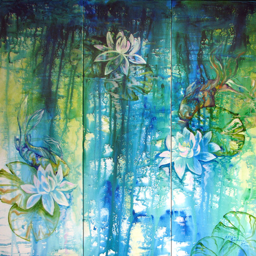 LILY POND & KOI ABSTRACT ~ BLUE ART ORIGINAL OIL PAINTING by MARCIA BALDWIN (large view)
