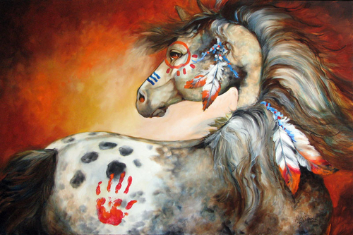 4 FEATHERS INDIAN WAR PONY original oil painting 36x24 by MARCIA BALDWIN (large view)