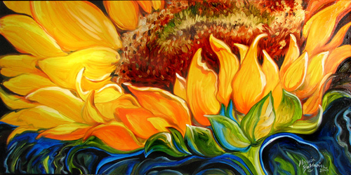 "SUNFLOWER RISE 'n SHINE ~ ORIGINAL OIL PAINTING 36""X18"" by MARCIA BALDWIN (large view)"